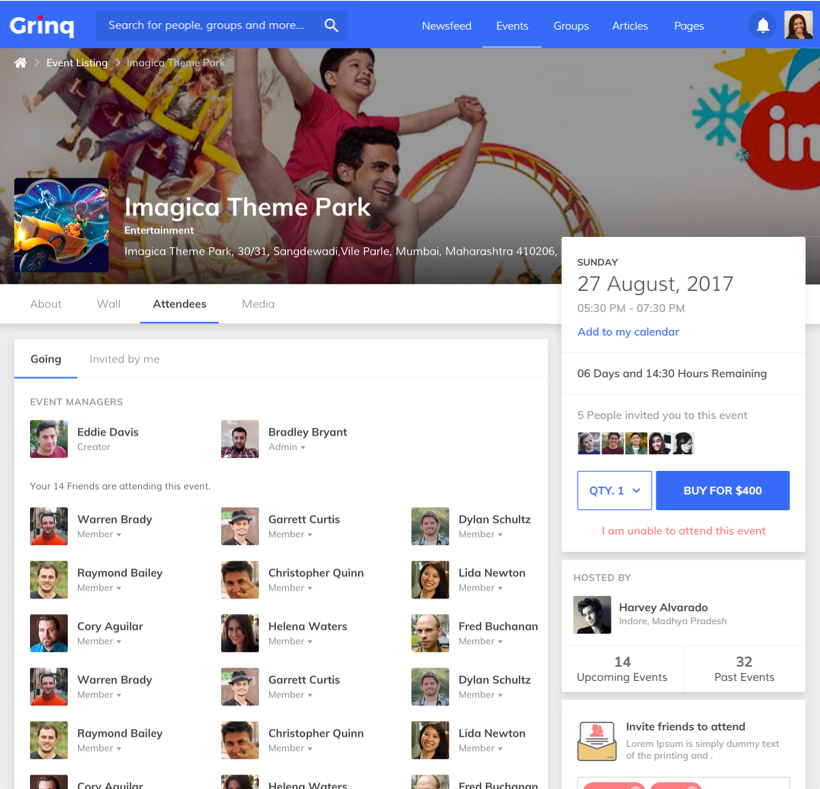 Grinq - Social Networking Application Design and Development for Events by Vinfotech