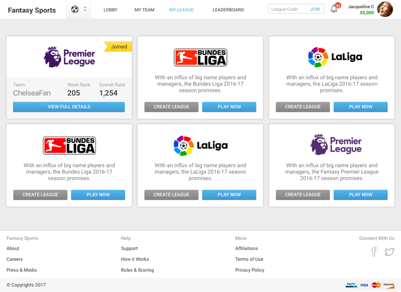 Leagues – Fantasy Football Software Development for FIFA 2018 by Vinfotech