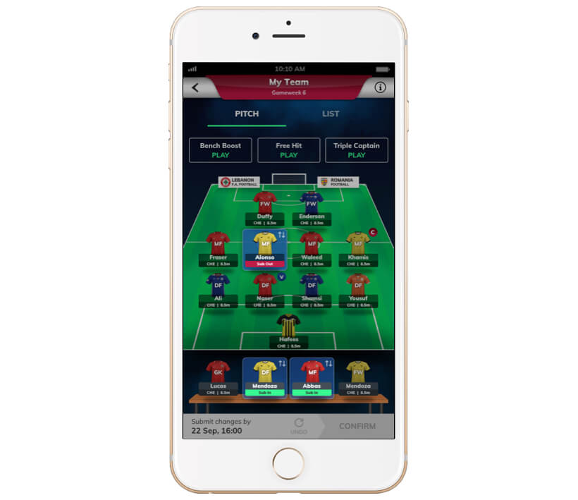 Fantasy sports website software like fantasy premier league with substitution by Vinfotech