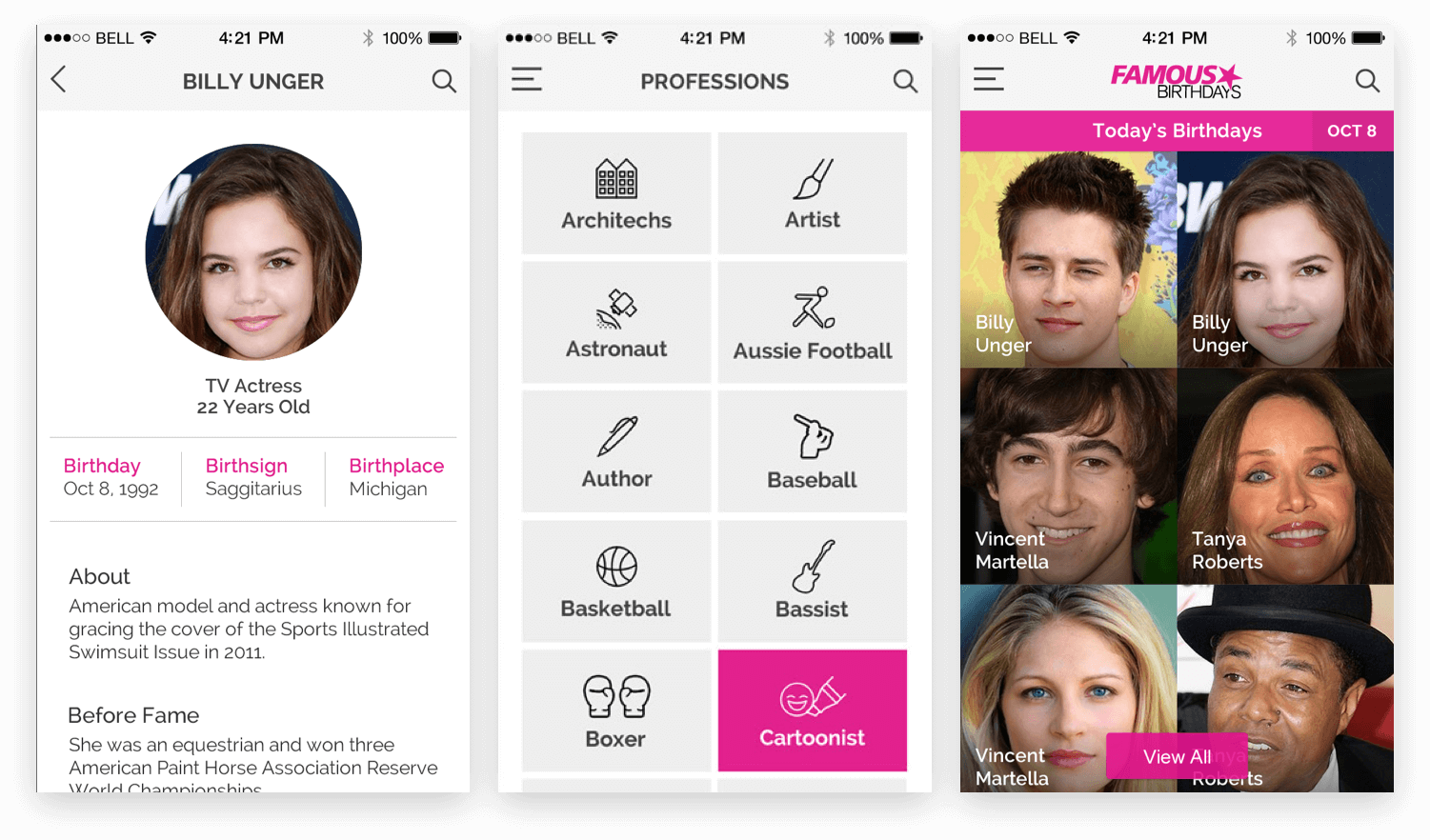 Celebrities Birthday App Design