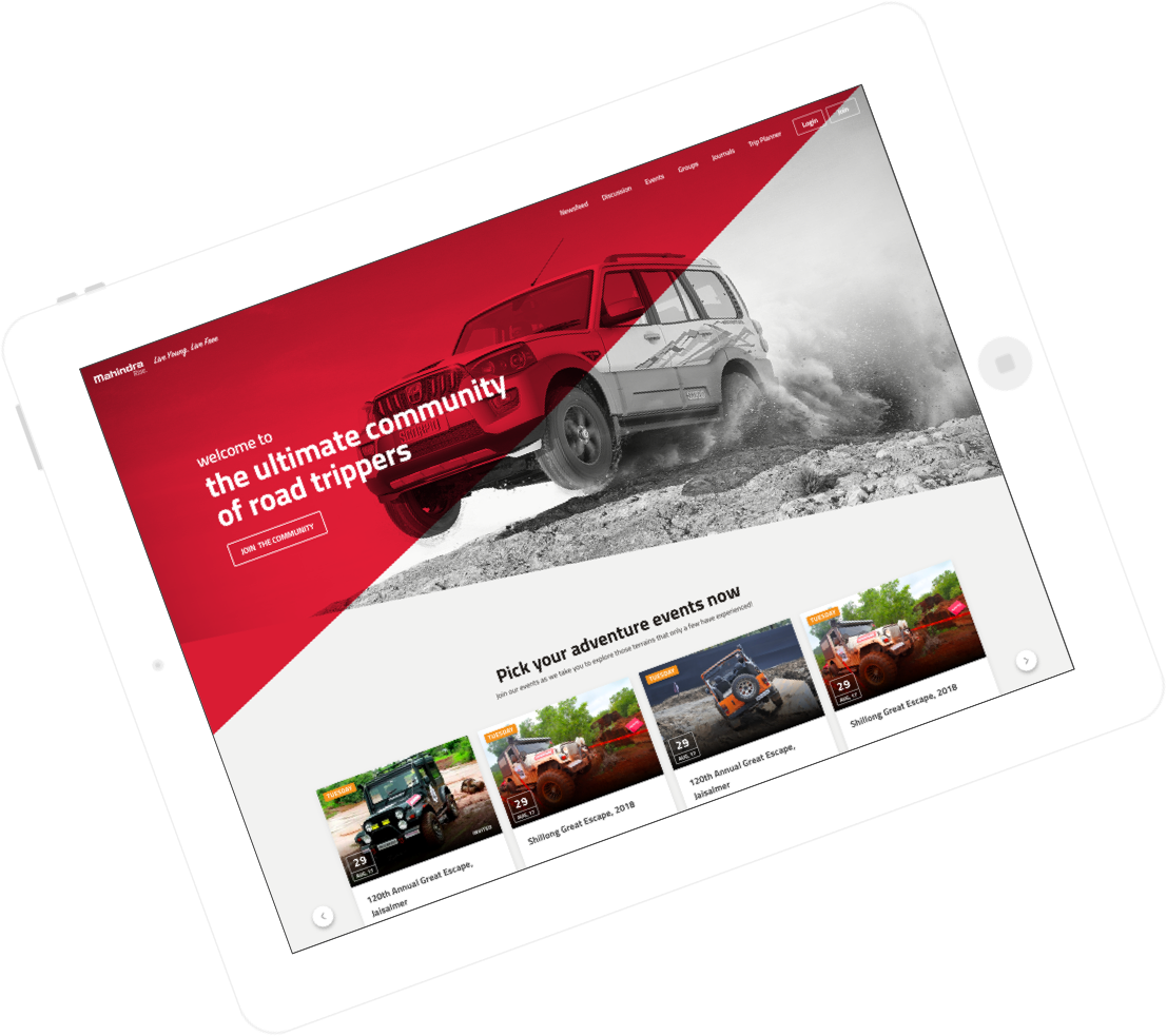 Mahindra – Custom Road Trippers Community for Travel Enthusiasts Design and Development by Vinfotech